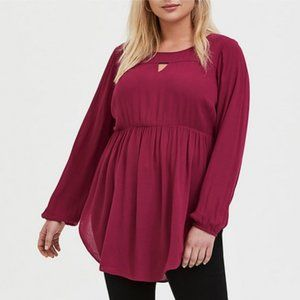 NWT Red Wine Gauze Babydoll Tunic 1X